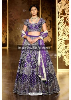 Purple Silk Embroidered Lehenga Choli