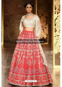 Peach Embroidered Silk Lehenga Choli