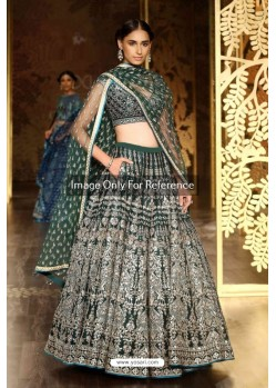 Teal Silk Embroidered Lehenga Choli