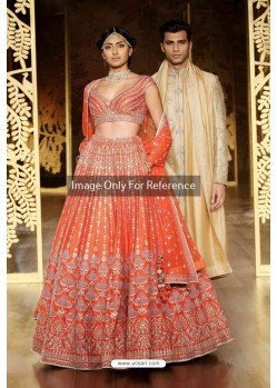 Orange Silk Embroidered Lehenga Choli
