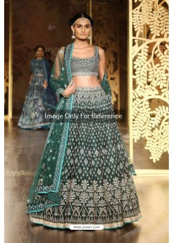 Dark Green Silk Embroidered Lehenga Choli