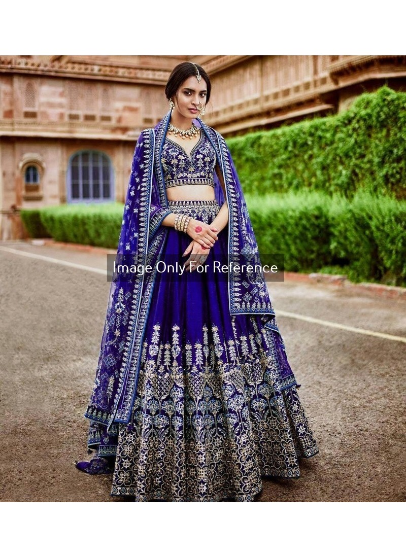 ea9ad88b4d Buy Royal Blue Silk Embroidered Lehenga Choli | Wedding Lehenga Choli