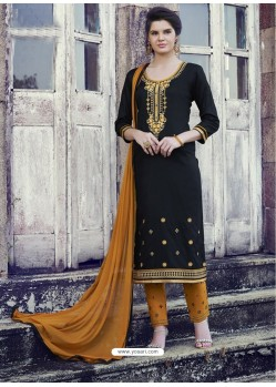 Black Embroidered Cotton Straight Suit