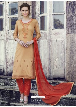 Beige Embroidered Cotton Straight Suit