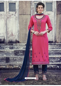 Hot Pink Embroidered Cotton Straight Suit