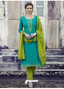 Turquoise Embroidered Cotton Straight Suit