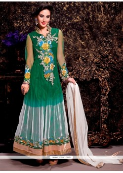 Celestial Green And White Net Anarkali Suit