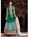 Celestial Green And White Net Anarkali Suit