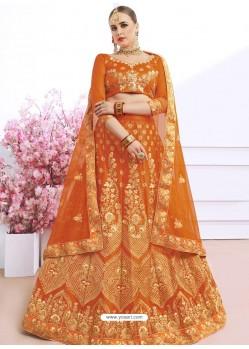 Orange Silk Heavy Zari Embroidered Wedding Lehenga Choli