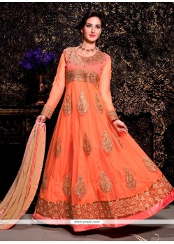 Awesome Peach Net Designer Anarkali Suit