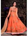 Awesome Peach Net Designer Anarkali Suit