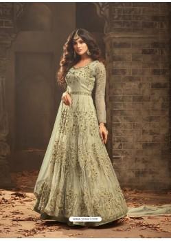 Olive Green Net Heavy Embroidered Designer Anarkali Suit