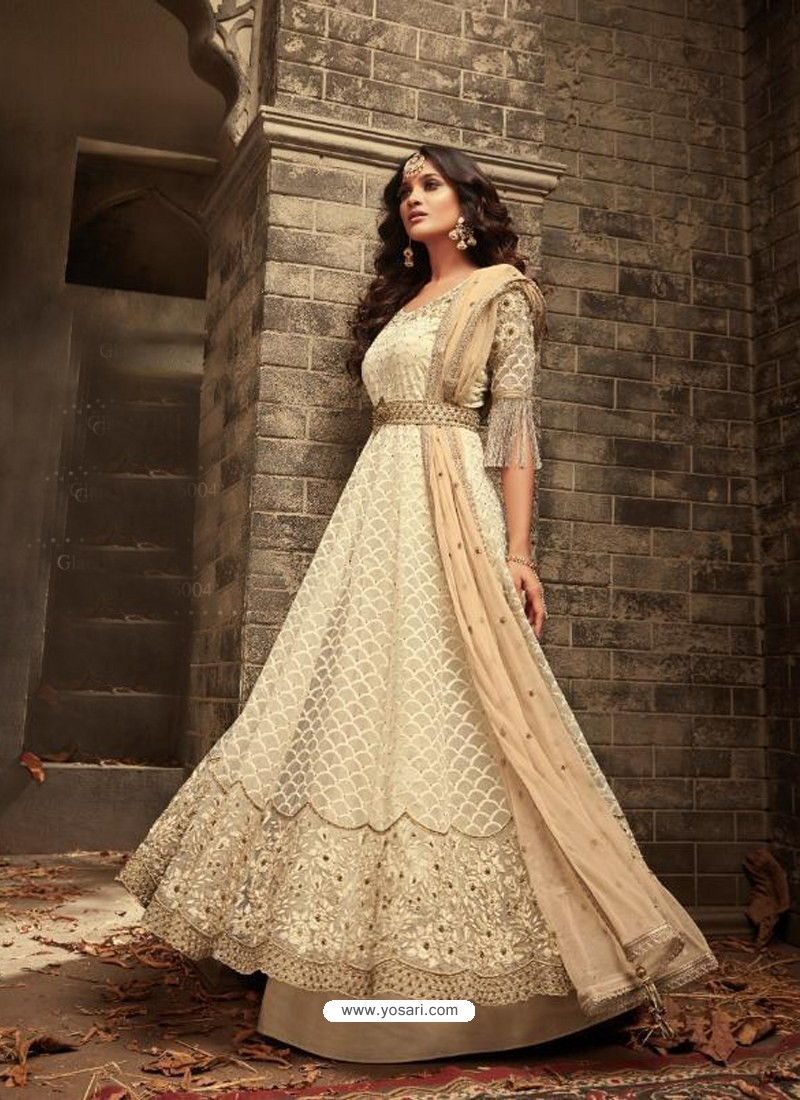 20a6aa710e Buy Off White Net Heavy Embroidered Designer Anarkali Suit ...