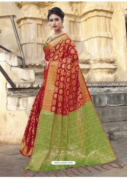 Red Chanderi Silk Jacquard Zari Worked Designer Saree