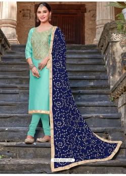 Sky Blue Modal Silk Embroidered Churidar Suit