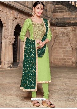 Green Modal Silk Embroidered Churidar Suit