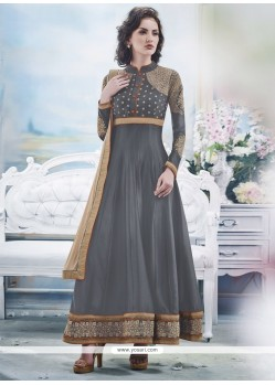 Stupendous Grey Embroidery Work Anarkali Suit