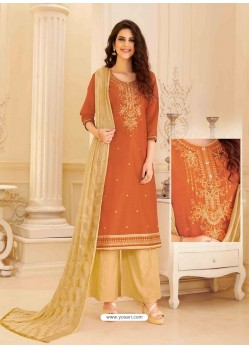 Orange Chanderi Silk Palazzo Suit