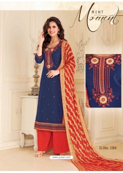Navy Blue Chanderi Silk Palazzo Suit