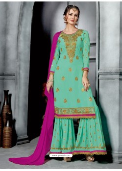 Jade Green Faux Georgette Heavy Stone Embroidered Designer Palazzo Suit