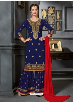 Navy Blue Faux Georgette Heavy Stone Embroidered Designer Palazzo Suit