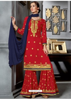 Red Faux Georgette Heavy Stone Embroidered Designer Palazzo Suit