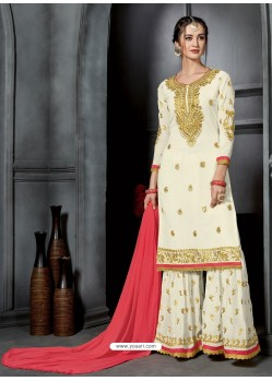 Off White Faux Georgette Heavy Stone Embroidered Designer Palazzo Suit