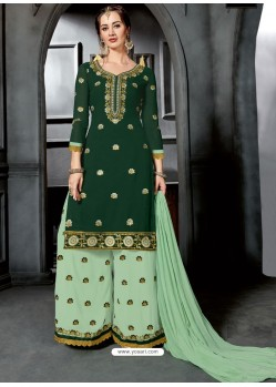Dark Green Faux Georgette Heavy Stone Embroidered Designer Palazzo Suit