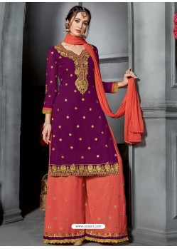 Purple And Red Faux Georgette Heavy Stone Embroidered Designer Palazzo Suit