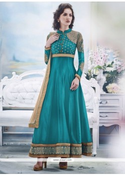 Modish Turquoise Blue Georgette Anarkali Suit