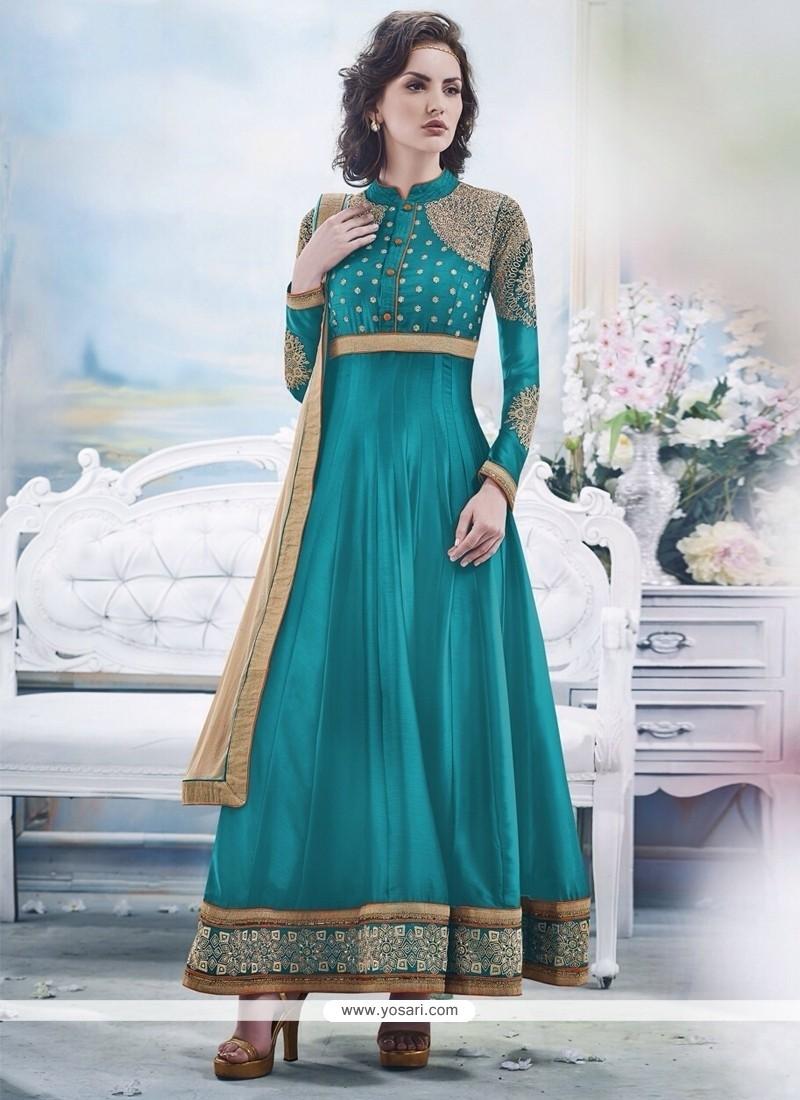 Modish Turquoise Blue Georgette Anarkali Suit