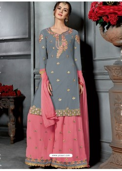 Grey And Pink Faux Georgette Heavy Stone Embroidered Designer Palazzo Suit