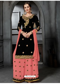 Black And Peach Faux Georgette Heavy Stone Embroidered Designer Palazzo Suit
