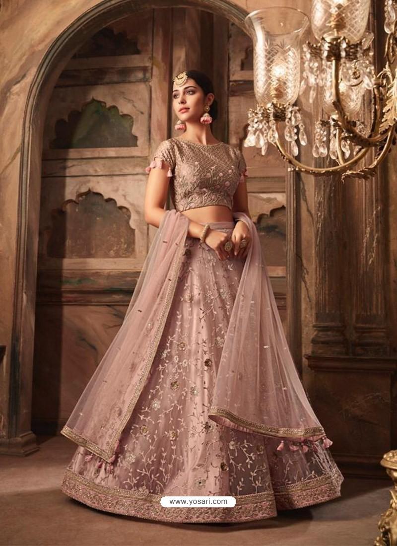 5bd4fe888f Buy Dusty Pink Net Heavy Embroidered Designer Lehenga Choli ...