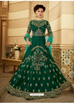 Dark Green Royal Silk Heavy Embroidered Gown Style Anarkali Suit