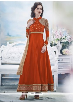 Embellished Orange Georgette Anarkali Suit