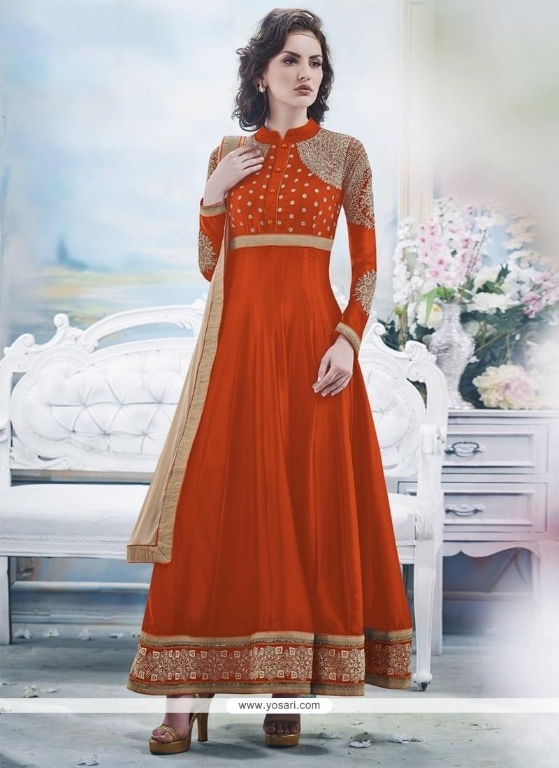 Embellished Orange Georgette Anarkali Suit