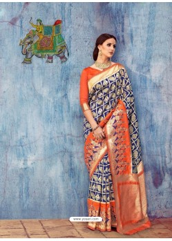 Navy And Orange Colour Banarasi Silk Jaquard Work Designer Saree