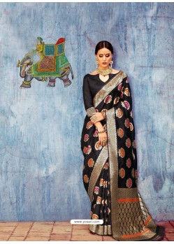 Black Banarasi Silk Jaquard Work Designer Saree