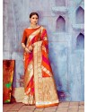 Red Banarasi Silk Jaquard Work Designer Saree
