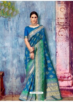 Blue Banarasi Silk Jaquard Work Designer Saree