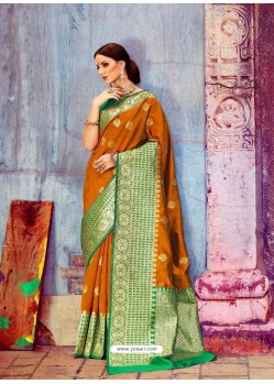 Mustard And Green Banarasi Silk Jaquard Work Designer Saree