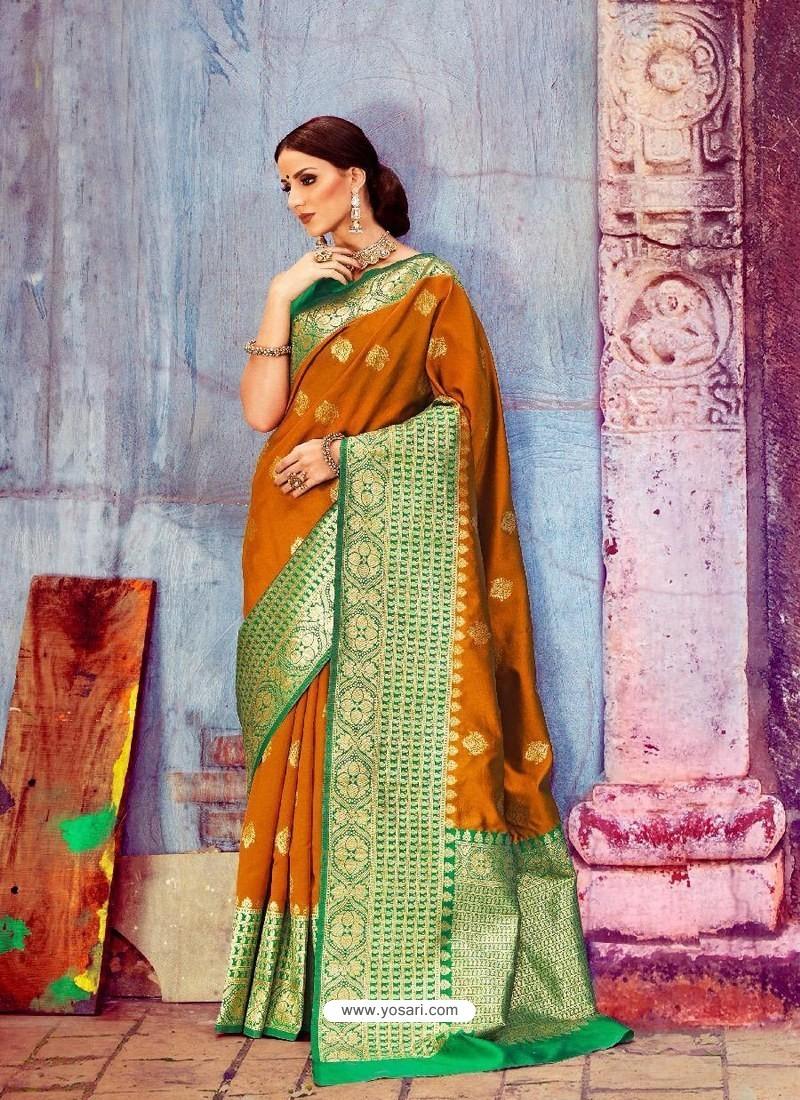 Mustard And Green Banarasi Silk Jaquard Work Designer Saree