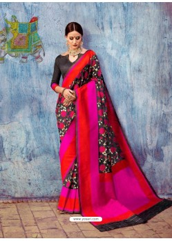 Black And Red Banarasi Silk Jaquard Work Designer Saree