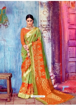 Green Banarasi Silk Jaquard Work Designer Saree