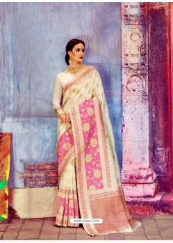 Off White Banarasi Silk Jaquard Work Designer Saree