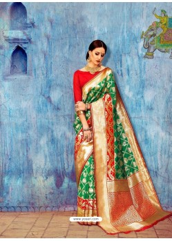 Dark Green Banarasi Silk Jaquard Work Designer Saree