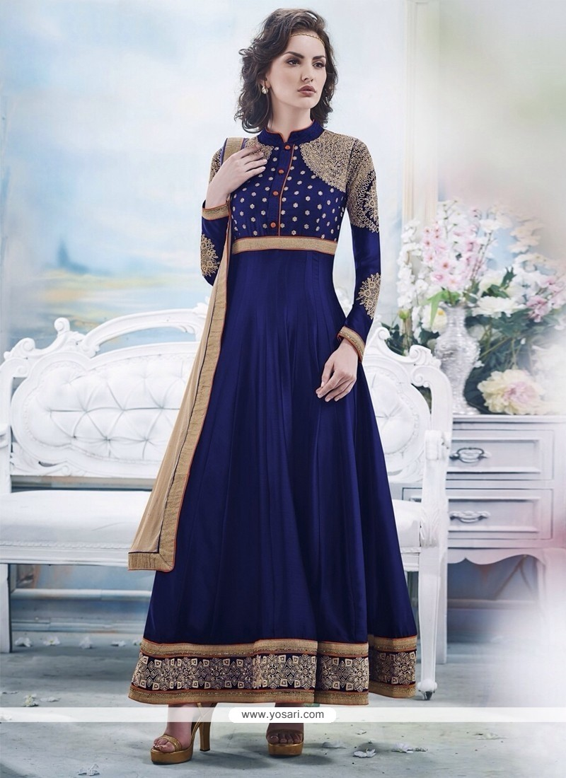 Pretty Blue Embroidery Work Anarkali Suit