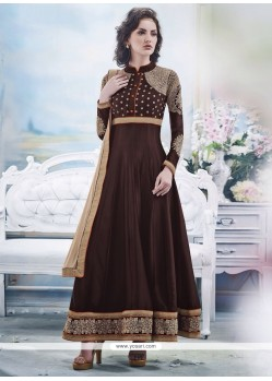 Ombre Brown Georgette Anarkali Salwar Suit