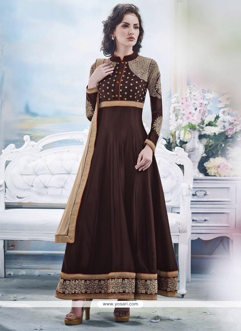 Ombre Brown Georgette Anarkali Salwar Suit